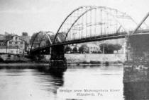 Date unknown of postcard showing old Elizabet Bridge from collection of Historic Elizabeth